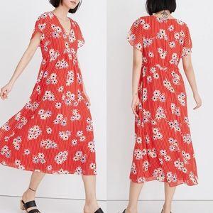 NWT Madewell Red Midi Dress in Daisy Society